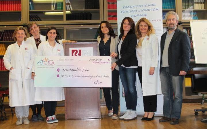 Aicra Onlus ha donato 30000 euro all'Ospedale Besta di Milano
