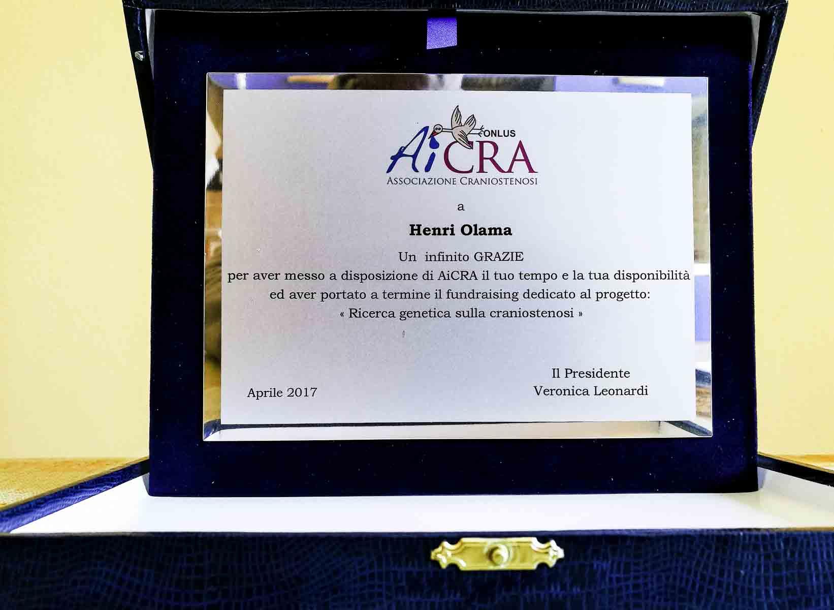 Targa per Henri Olama - Aicra Onlus