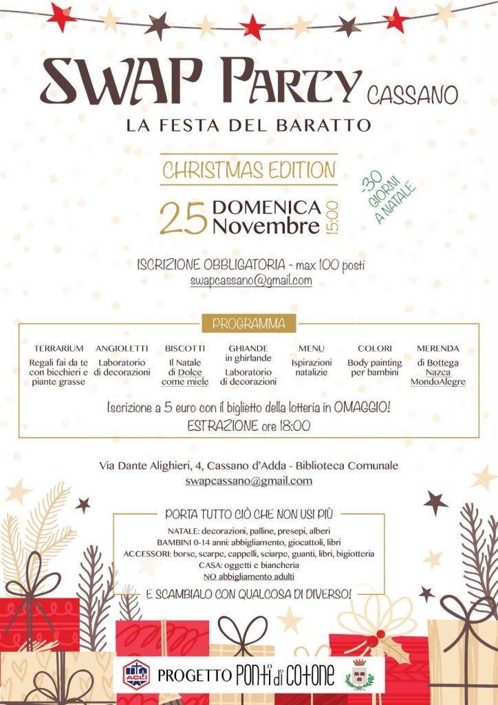 APERTE LE ISCRIZIONI ALLO SWAP PARTY DI CASSANO D'ADDA – 25 NOVEMBRE 2018 – ORE 15!